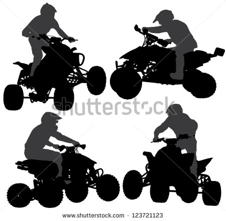 Quad Bike Silhouette On White Background   Stock Vector