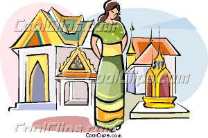 Woman In Grand Palace In Bangkok Thailand Clip Art