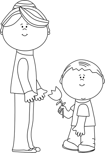 Mom black and white clipart