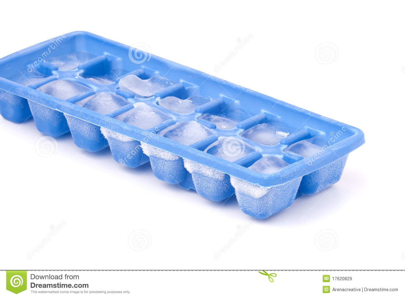 Blue Plastic Ice Cube Tray With Frost On It Isolated Over A White