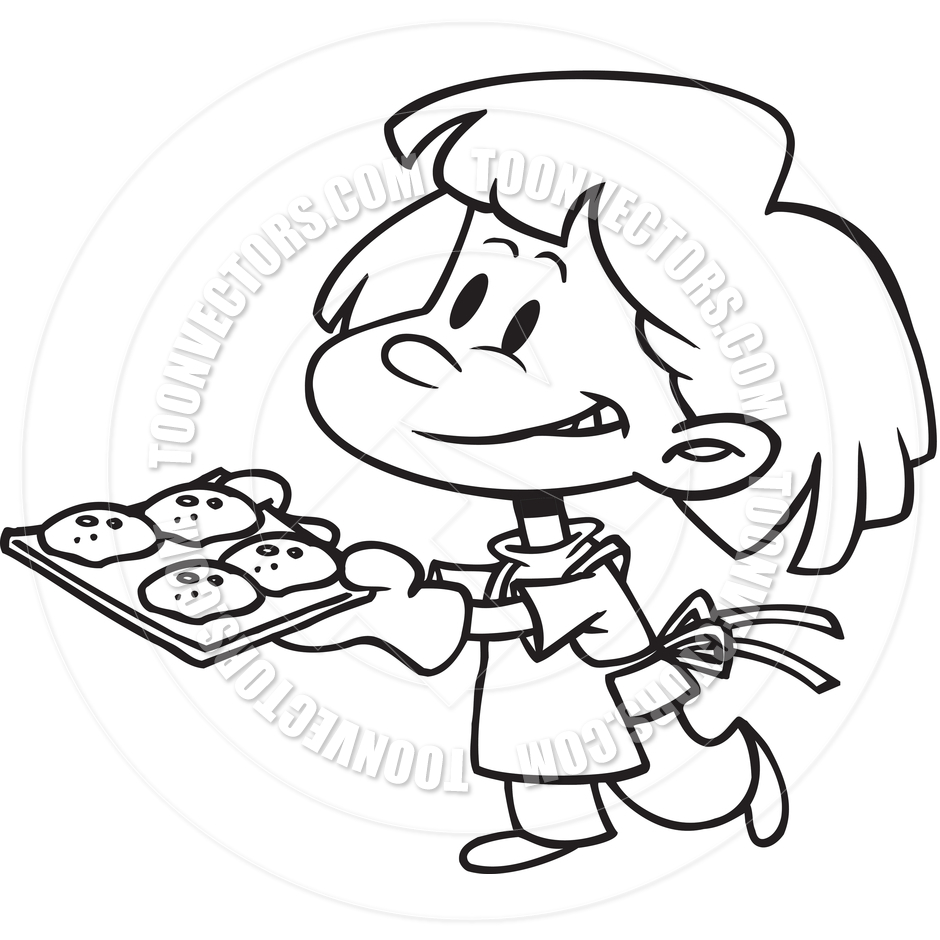 Cartoon Girl Baking Cookies  Black And White Line Art  By Ron Leishman