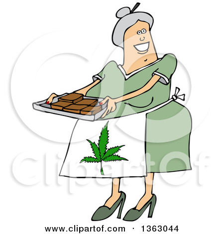 Cartoon Happy Chubby White Senior Woman Holding A Tray Of Fresly Baked