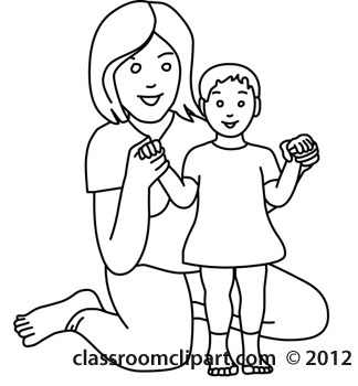 Classroom Clipart   Black And White Clipart Clipart  Mother And Baby