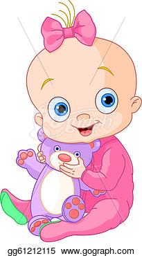 Clip Art Vector   Cute Baby Girl With Teddy Bear  Stock Eps Gg61212115