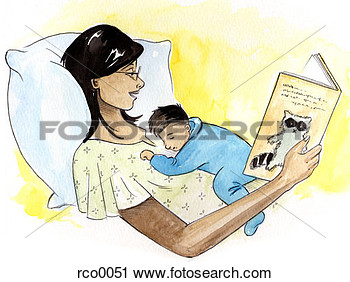 Clipart Of A Woman Reading A Book In Bed While Her Baby Sleeps On Her
