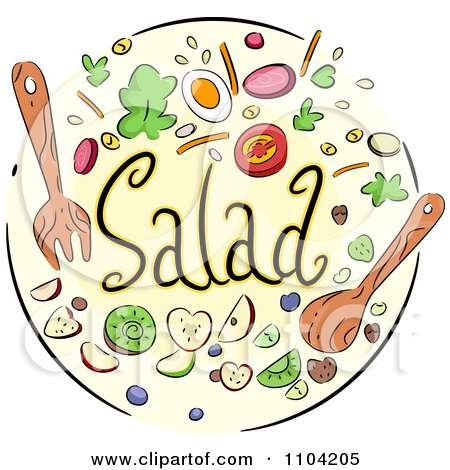 Clipart Salad Icon With Utensils And Toppings   Royalty Free Vector