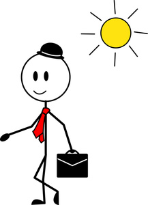 Figure Cartoon Clipart Image   Happy Man Going To Work On A Sunny Day