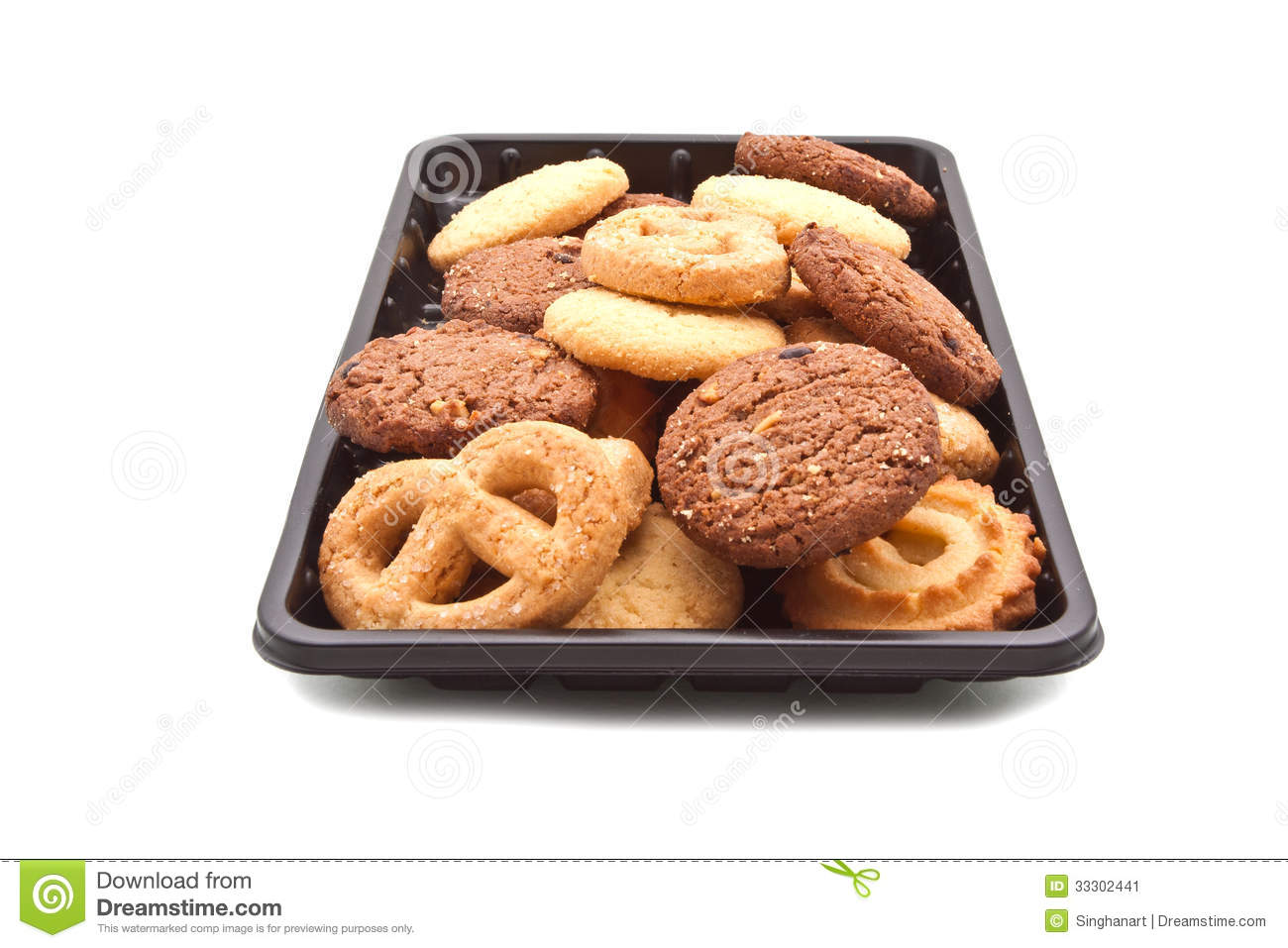Heap Of Cookie On Black Plastic Tray On White Stock Image   Image