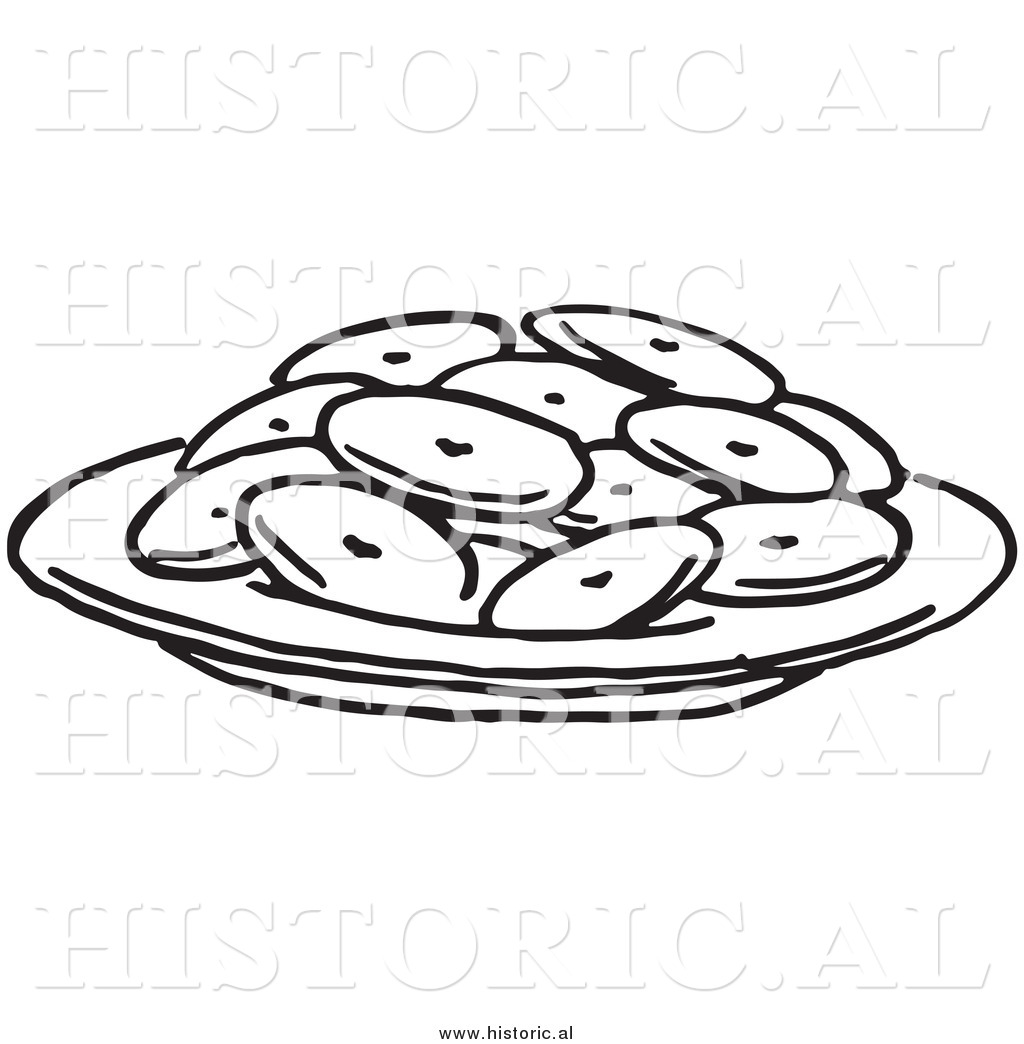 Historical Clipart Of A Plate Full Of Cookies   Black And White
