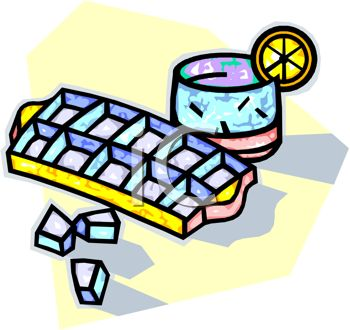 Slice Of Lemon And An Ice Cube Tray And Ice Cubes Clipart Image Jpg