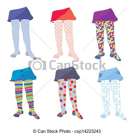 Vector   Children Tights Set With Funny Patterns   Stock Illustration