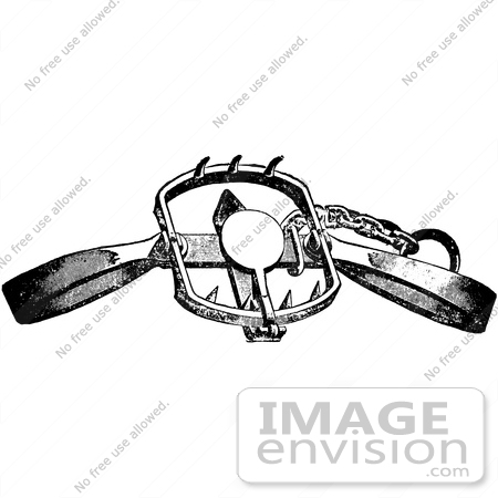 61532 Clipart Of A Steel Animal Trap For Lions Tigers And Beacrs In