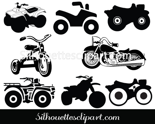 Atv Motorcycle Silhouette Clip Art Pack Download