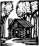 Black And Whitebuildingcabindrawingforesthomehouseillustration