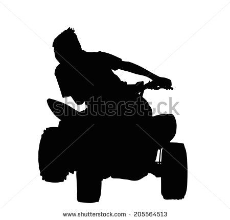 Boy Racing On Quad Bike Through Corner Silhouette   Stock Vector