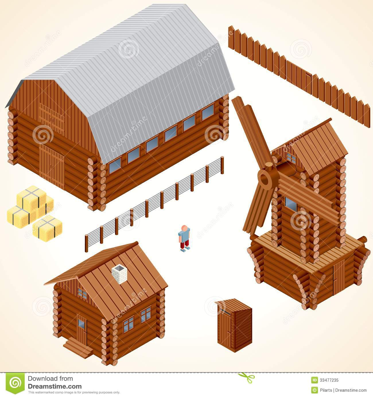 Cabins House Vector Clip Art Houses Log Cabin Wood Windmill Rustic