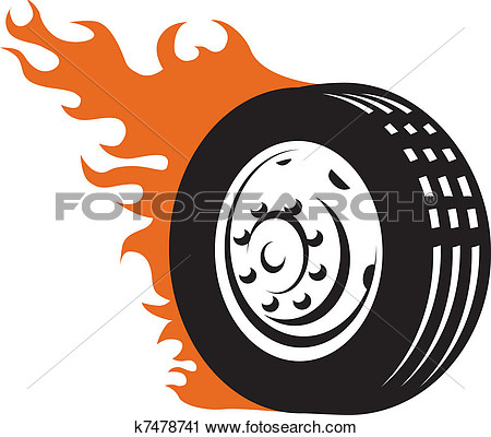 Clipart   Fiery Racing Tire  Fotosearch   Search Clip Art