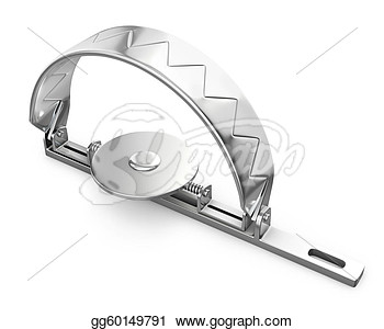 Clipart   Sharp Bear Trap Closed Isolated On White Background  Stock