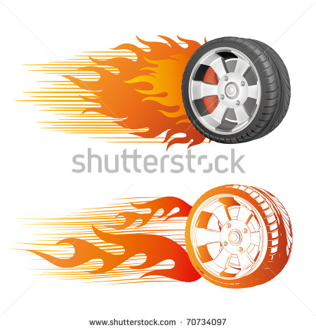 Fiery Racing Tire Stock Vector 70734097   Shutterstock