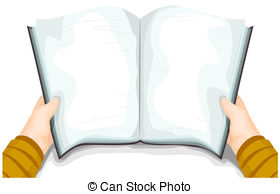 Handbook   A Blank Book For Background Held Open By A Person