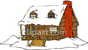 Little Rustic Cabin In The Snow Royalty Free Clipart Picture