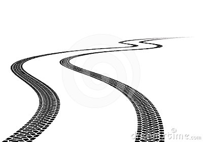 Road Tire Track  Illustration On White Background
