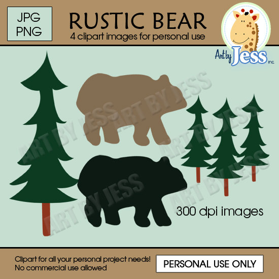 Rustic Bear Lodge Pine Tree Baby Shower   Birthday Clipart Instant