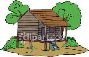Rustic Little Cabin Built On Stilts   Royalty Free Clipart Picture