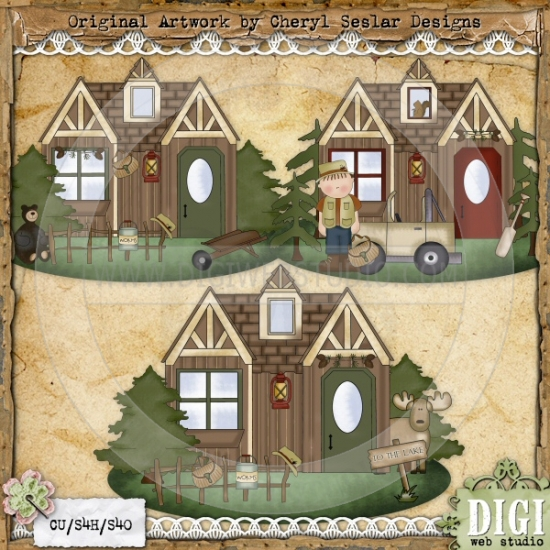 Rustic Lodge 1   Cheryl Seslar Country Clip Art   Digi Web Studio