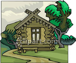Rustic Log Cabin   Royalty Free Clipart Picture