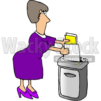 Secretary Feeding A Paper Shredder Confidential Documents Clipart
