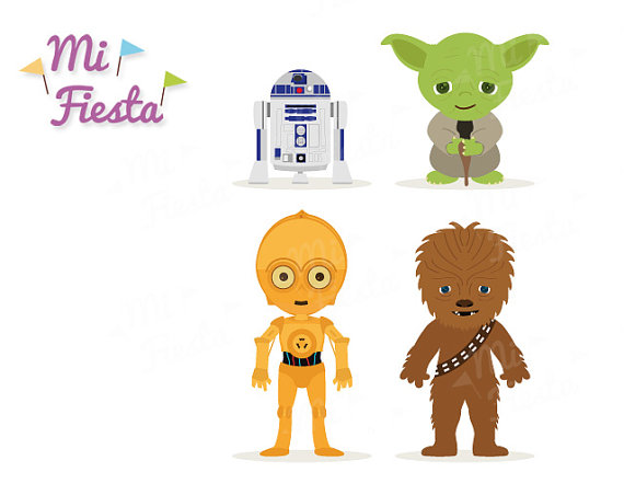 Star Wars Inspired Chewbacca C3p0 R2d2 And Yoda Clipart Birthdays