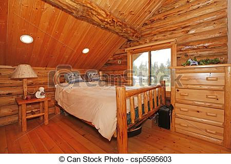 Stock Photos Of Bedroom In Rustic Mountain Log Cabin With Large Scale
