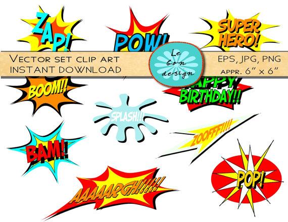 Clip Art Comic Book Clipart comic book clipart kid digital clip art vector superhero text personal and