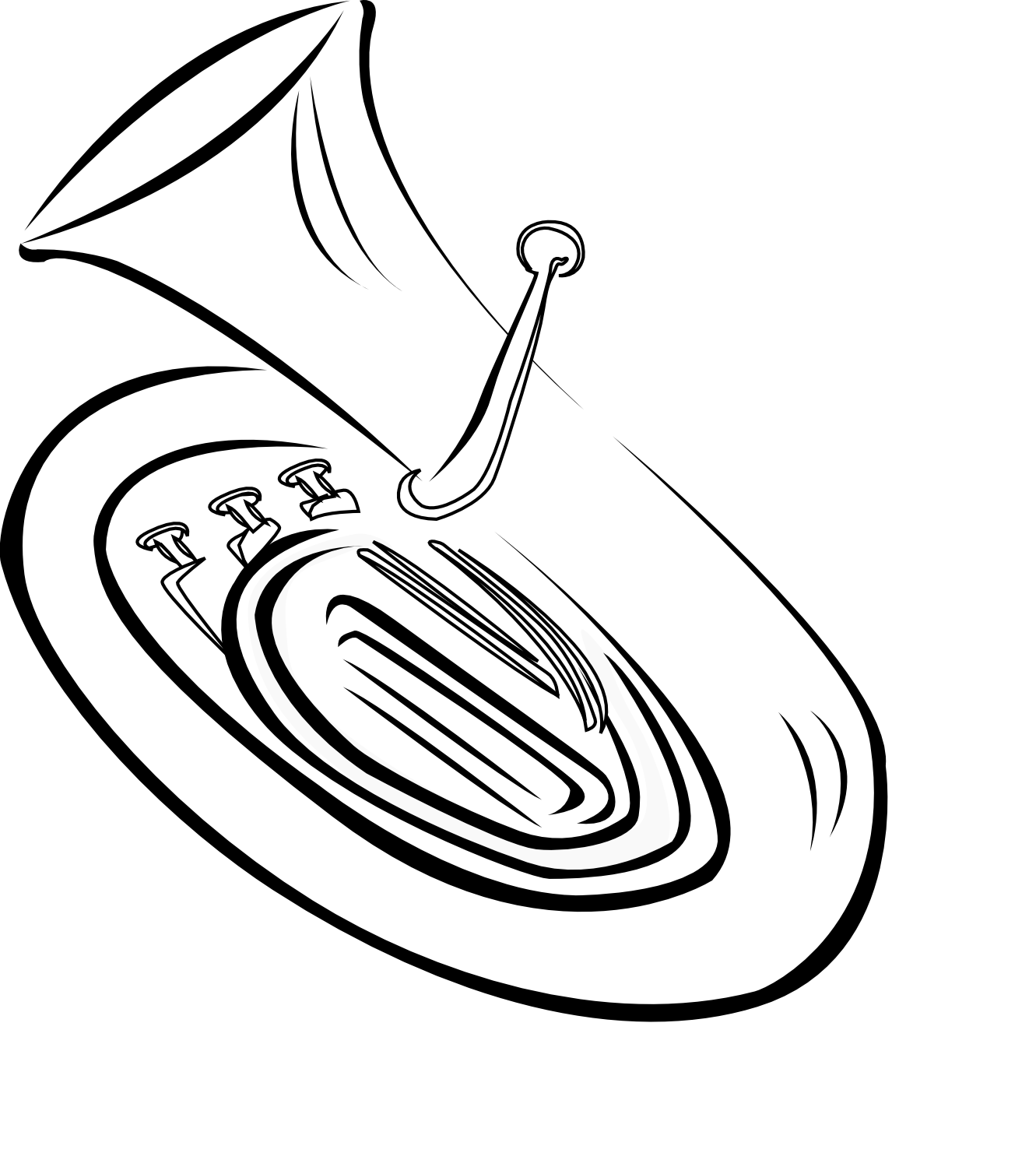 French Horn Black And White Clipart - Clipart Kid