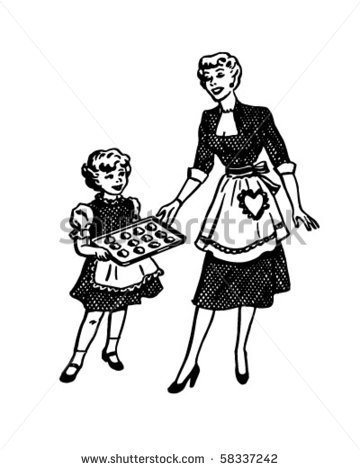 Mother And Daughter Baking   Retro Clip Art   Stock Vector
