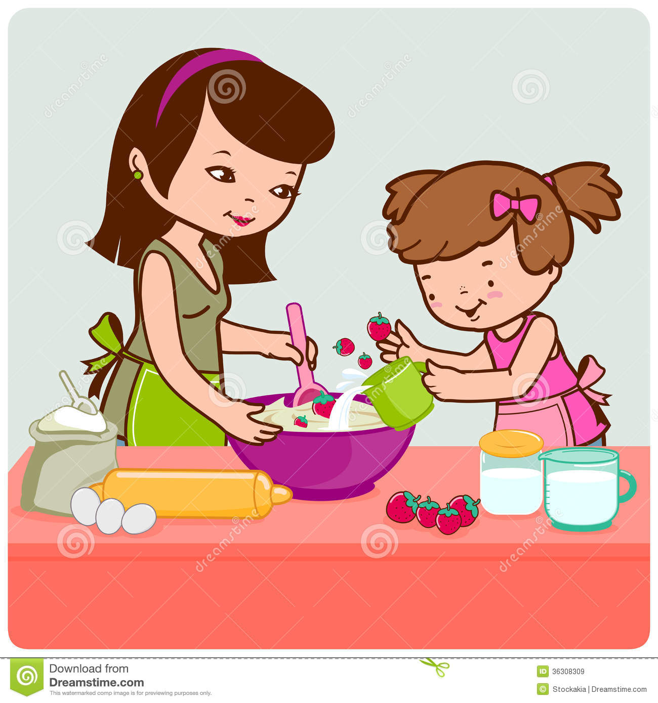 Mother And Daughter Cooking Royalty Free Stock Images   Image