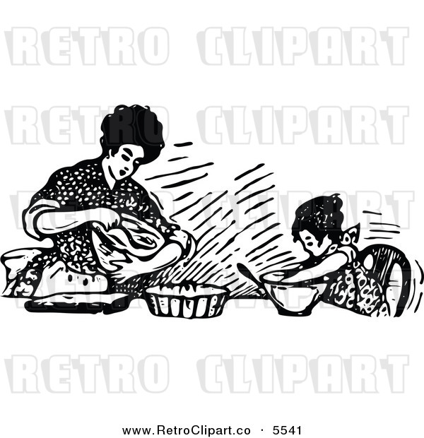 Mother Baking With Her Daughter Retro Clip Art Prawny Vintage