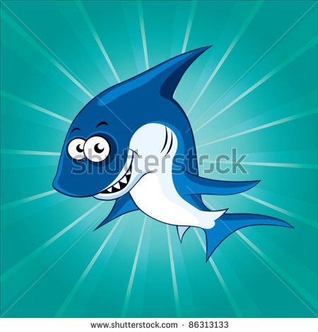 Picture Of A Shark Underwater Making A Funny Face In A Vector Clip Art
