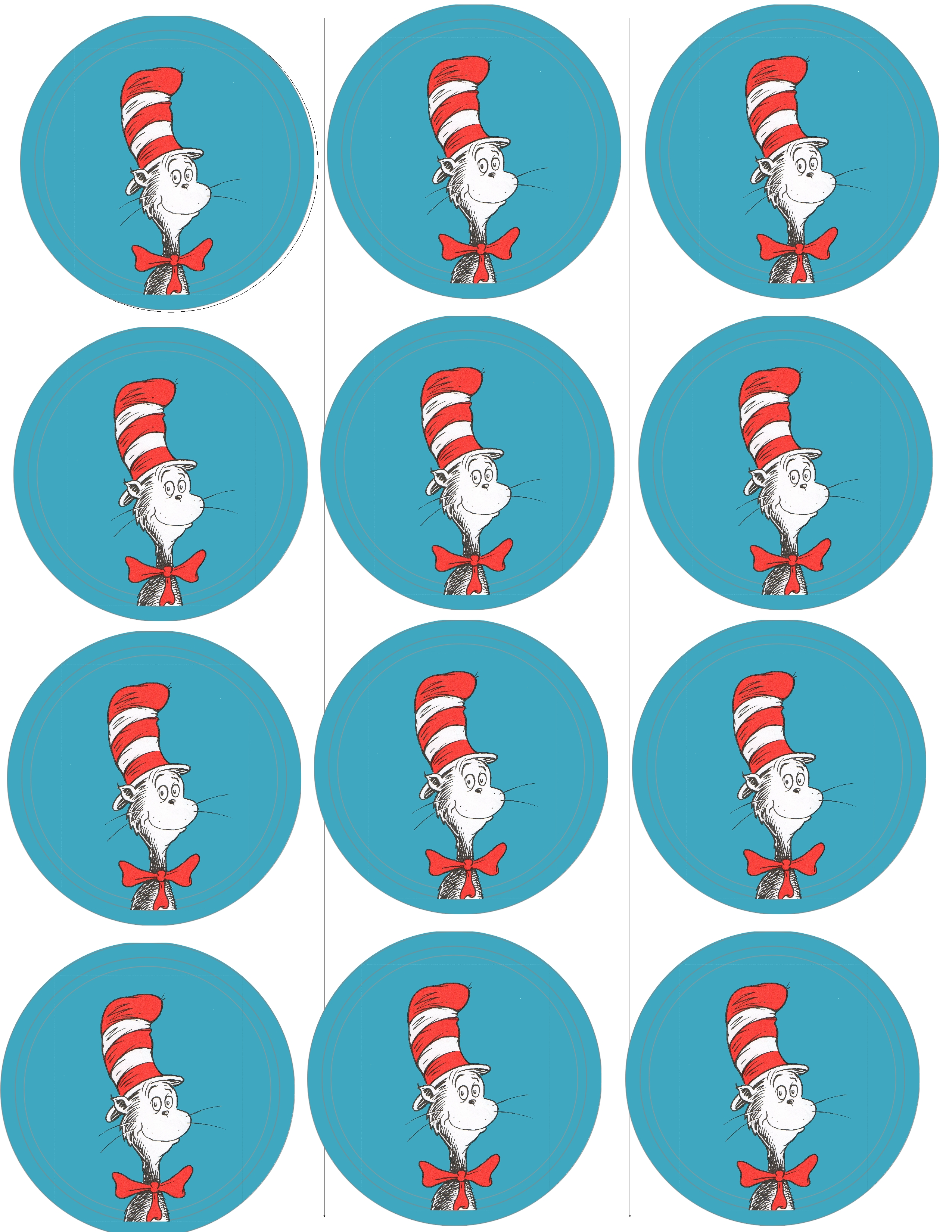 The Classic Cat In The Hat Button Sheet