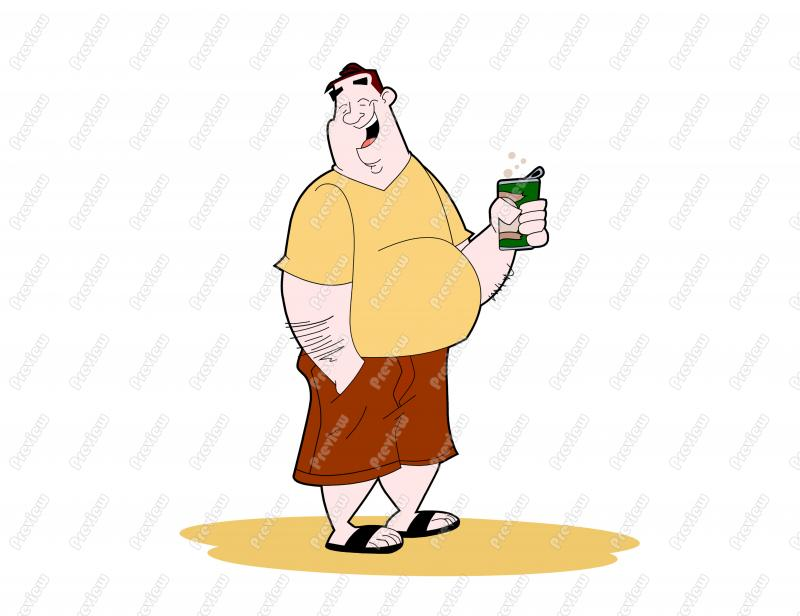 Beach Beer Belly Guy Character Clip Art   Royalty Free Clipart