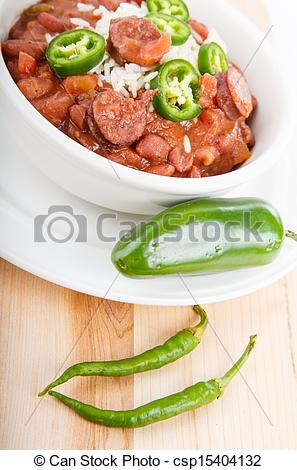 Bowl Of Red Beans And Rice With Spicy Green Jalapeno Peppers