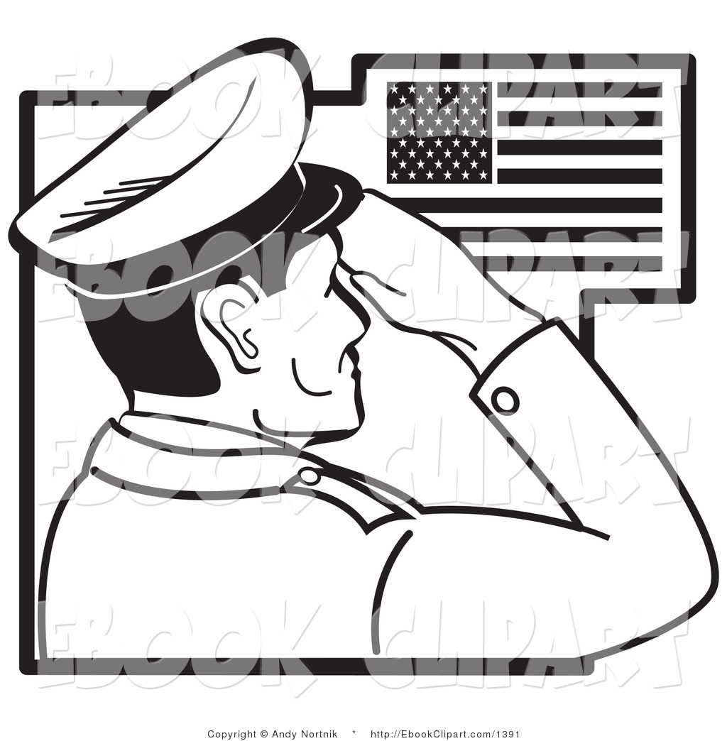 Clip Art Of A Black And White Soldier Saluting The American Flag By