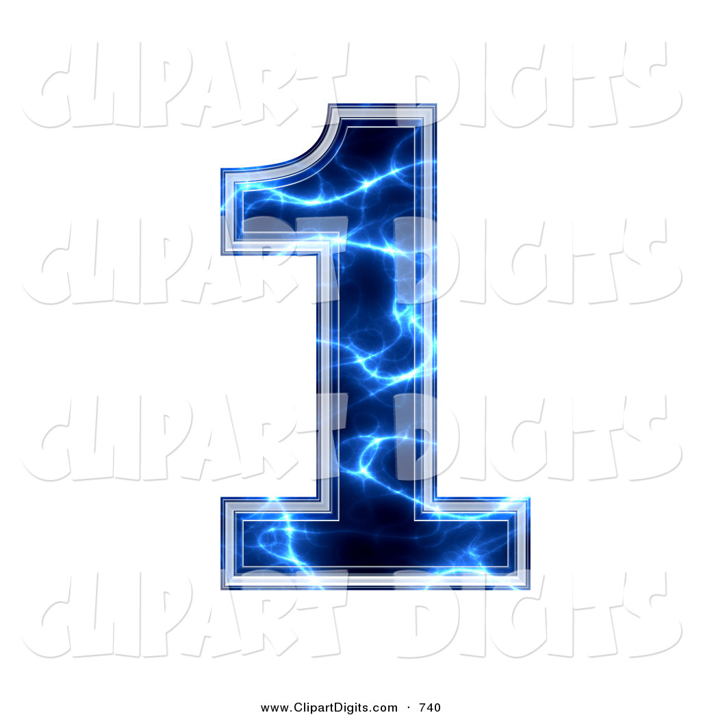 Clip Art Of A Blue Electric Symbol  Number One On White By Chrisroll