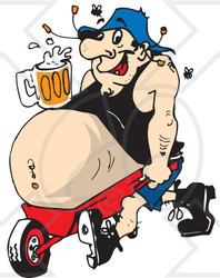 Clipart Illustration Of A Man Lugging His Beer Belly In A Wheelbarrow