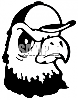 Clipart Picture Of An Eagle Wearing A Baseball Cap Mascot