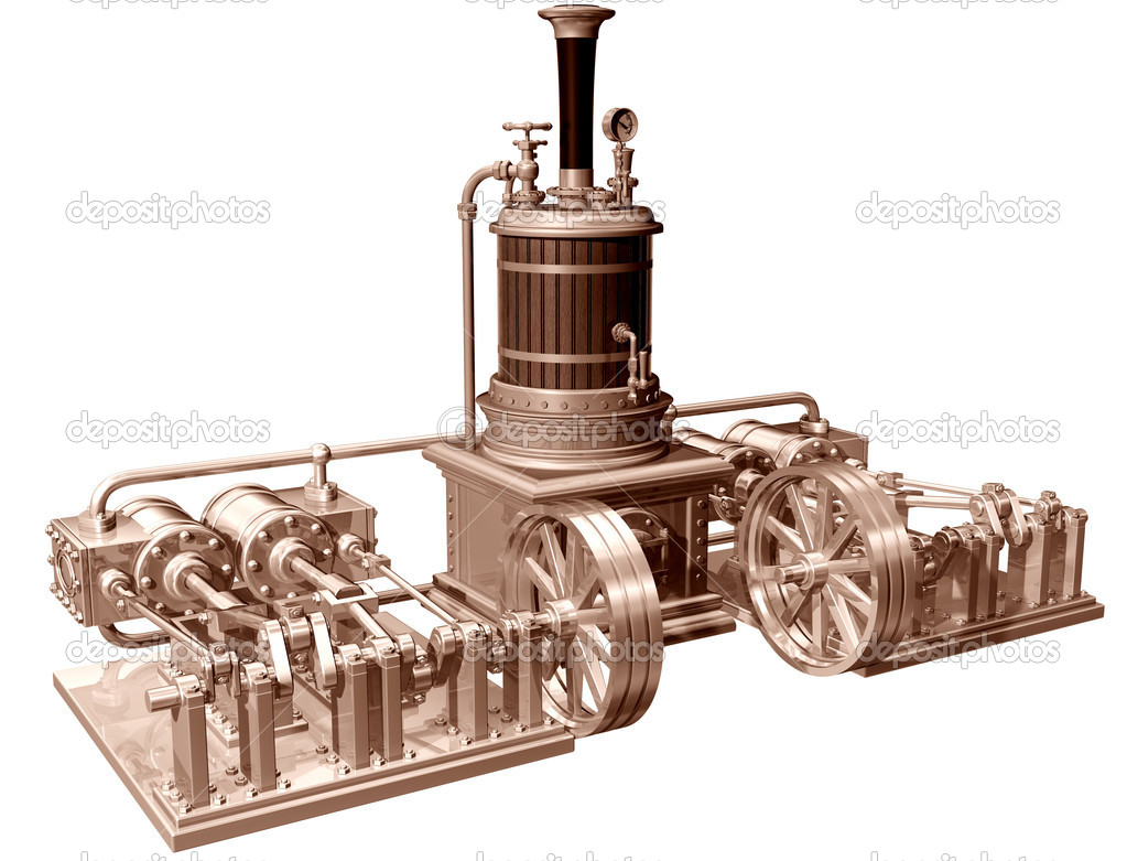 Four Cylinder Steam Engine And Boiler   Stock Photo   Paulfleet