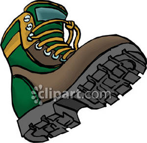 Heavy Tread Hiking Boots   Royalty Free Clipart Picture