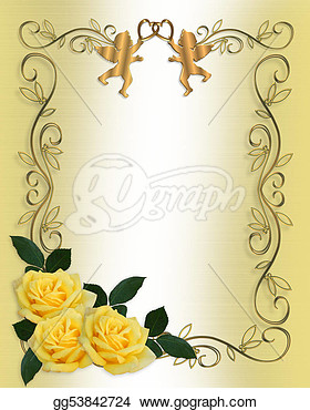 Invitation Yellow Roses Border   Clipart Drawing Gg53842724   Gograph