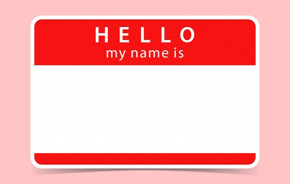 Red Name Tag Blank Sticker Hello My Name Is  Rounded Rectangular Badge